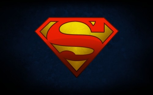 superman logo on blue