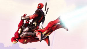 Deadpool rides Iron Man