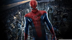 Spider-man above his city