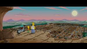 Bart and Homer Simpson look over Springfield.png