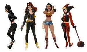 Catwoman batgirl wonder woman, harley quinn