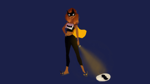 Batgirl with flashlight