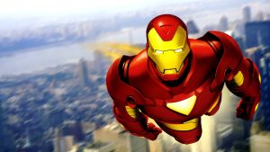 Iron Man over the city