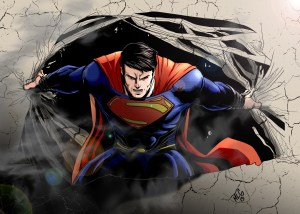 Superman ripping open a wall