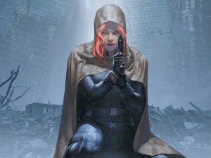 black widow in a hood