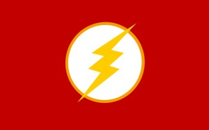 the flash logo on red