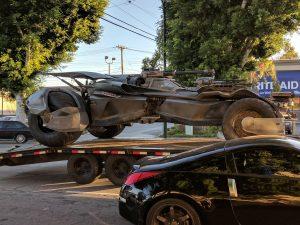 Batmobile on a trailer