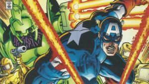 Captain America dodges lasers