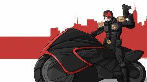 Dredd on a bike