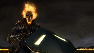 Ghost Rider on classic bike