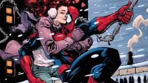 Spider-man with mary jane on his back