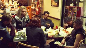 The Avengers eating food