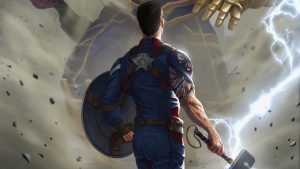 captain america with thor's hammer