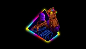 thanos avengers infinity war 80s style artwork cn
