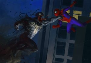 venom and spiderman artwork tv