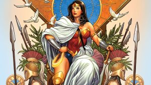 wonder woman on a throne