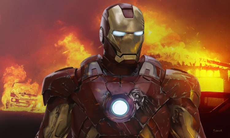 Iron man in flames