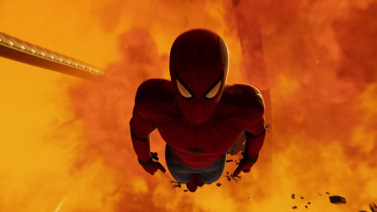 Spider-man falls into fire