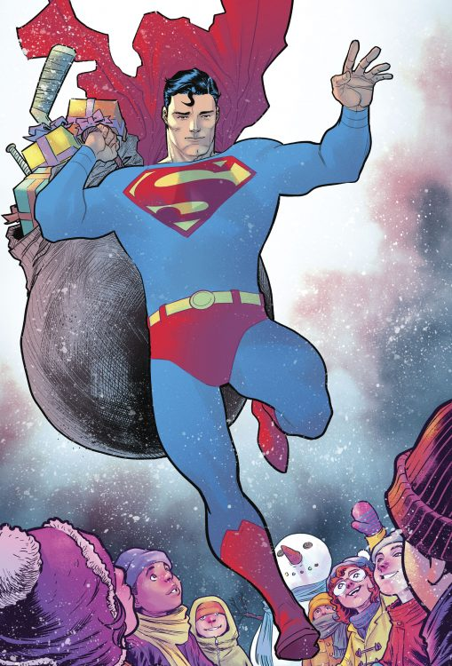 Superman with bag of christmas gifts