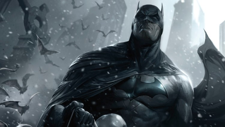 batman in the snow with bats