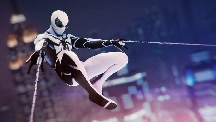 black and white spider-man