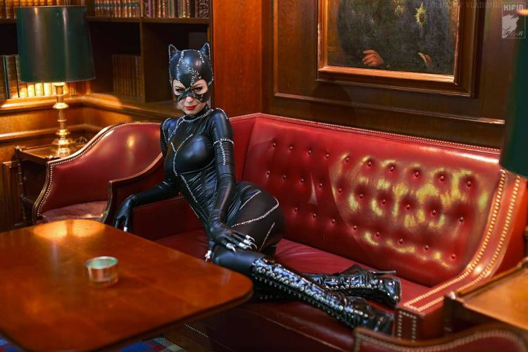 catwoman on red leather