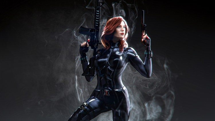 black widow with shield logo