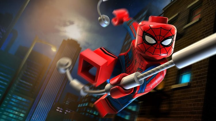 lego spider in the motion of air