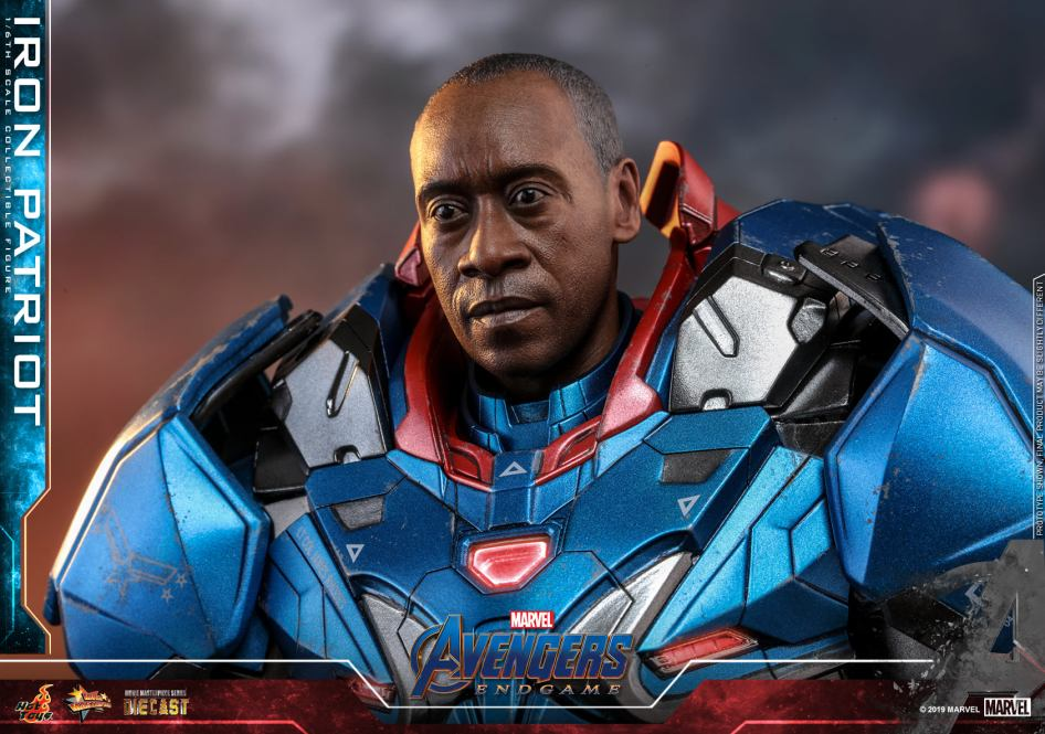Unmasked Head Sculpt Revealed for the Avengers Endgame – Iron Patriot by Hot Toys