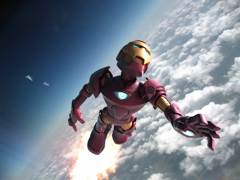 Chibi Iron Man At Altitude