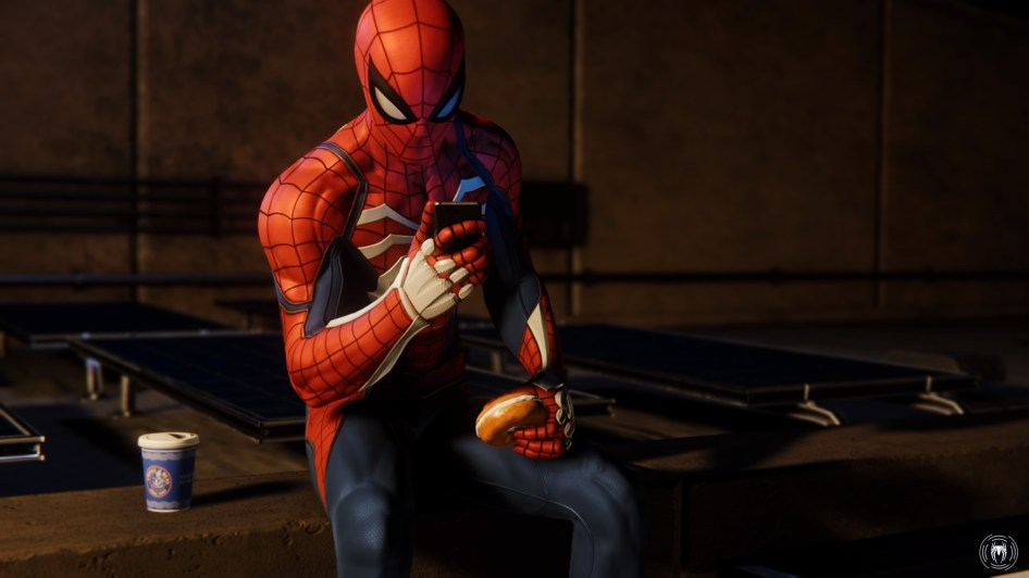 spider-man eating a bagel
