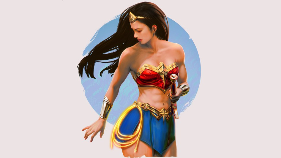 wonder woman in a cut off top