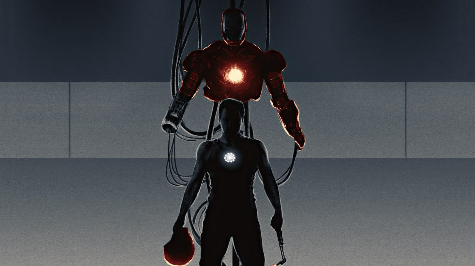 Iron man with two helmets