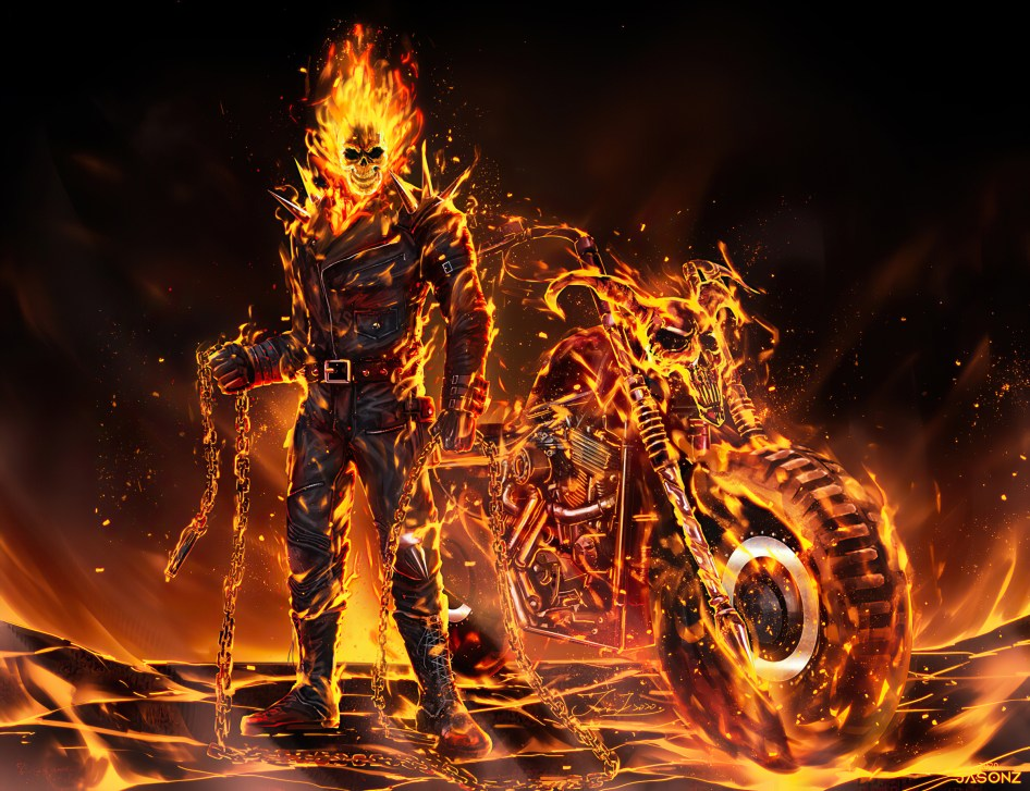 ghost rider is on fire