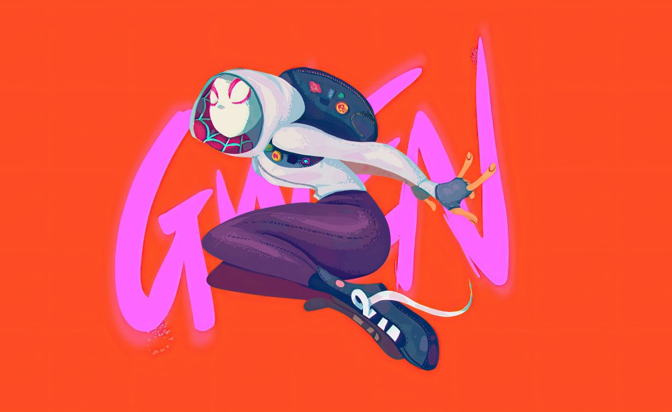 Spider-Gwen needs to tie her shoes
