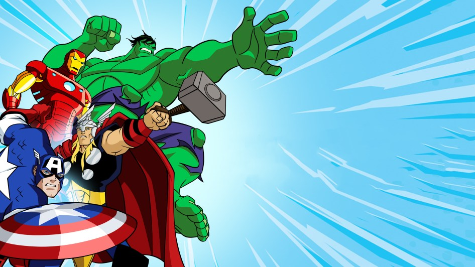 The Avengers in cartoon form