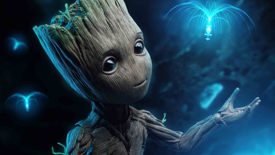 baby groot and floaty flower