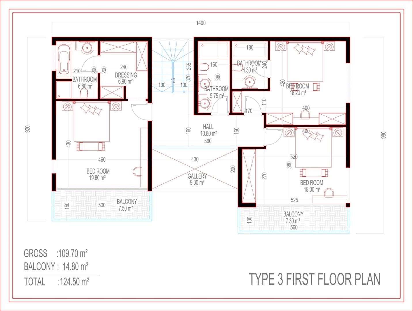 Type 3 First floor Plan