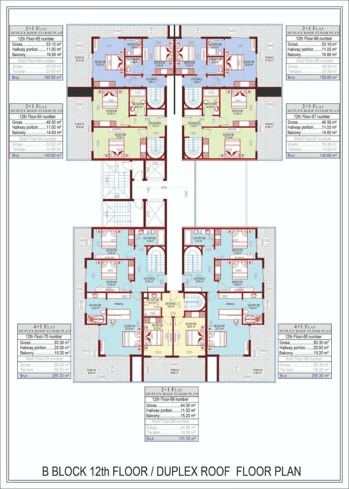 Block B - Duplex roof floor plan