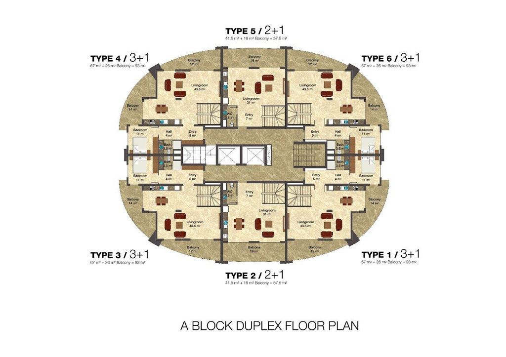 Duplex floor plan A block
