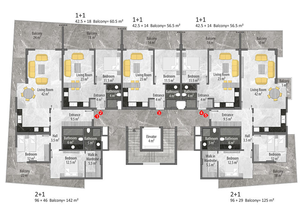 A block 3rd floor plan