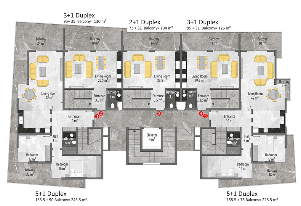 A block duplex 1st floor plan