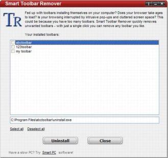 rimozione toolbar indesiderate
