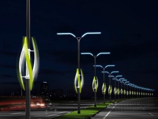 Illuminazione stradale fatta dal vento e dalle auto con Turbine Light
