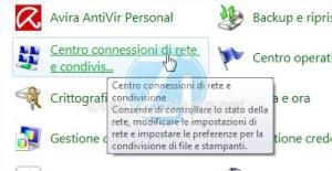 accesso centro connessioni di rete e condivisione windows