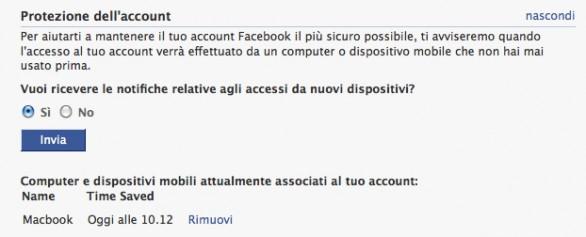 Facebook ti avvisa se qualcuno usa il tuo account da un altro PC