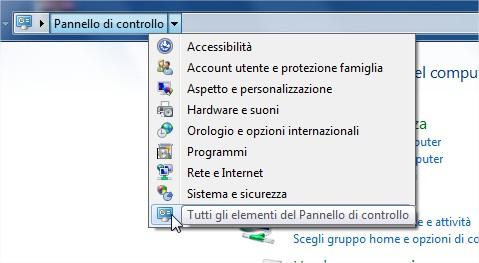 andiamo a prendere tutte le icone del pannello di controllo di Windows