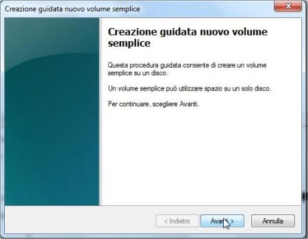 procedura guidata per la creazione di un nuovo volume semplice su Windows sette