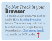 click here to install Do Not Track