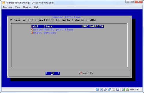 Installare Android Virtualbox, scelta partizione